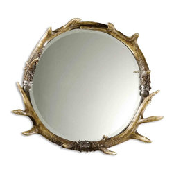 Round Stag Horn Antler Mirror - *This mirror features a rustic frame with a natural brown and ivory finish and silver leaf accents.  Mirror is beveled.