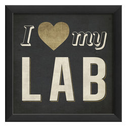 "The Artwork Factory - ""I Heart My Lab"" Print - Whether you're a dog lover, a scientist, or a photographer, this high quality print will show your space some love. It comes in a square, wooden frame and comes ready to hang. Add it to your cart so you can retrieve it later."