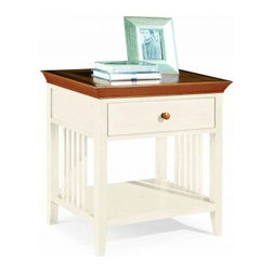 """American Drew 181-400WM Drawer Night Stand - White w/ Maple Top Sterling Pointe - Drawer Night Stand - White w/ Maple Top - American Drew Sterling Pointe Collection 181-400WMFeatures:1 Shelf1 DrawerThis Price Includes:Drawer Night Stand - White w/ Maple TopItem:Weight:Dimensions:Drawer Night Stand - White w/ Maple Top48 lbs26"""" W X 17"""" D X 28"""" HManufacturer's Materials:Maple and Hardwood SolidsMaple & Poplar Veneers & Simulated Wood Components"""