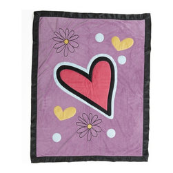 One Grace Place - Sassy Shaylee Medium Quilt with Applique Multicolor - 10-26024 - Shop for Quilts from Hayneedle.com! The Sassy Shaylee Medium Quilt with Applique may have a funky modern look but it still has the same cuddly appeal as a traditional quilt. The cute purple background is accented with a bright pink heart applique as well as smaller hearts and flowers. Certain to become a favorite your little girl will love curling up under this blankie.
