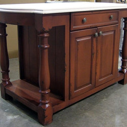 British Traditions - 6 Ft. Wide Country Kitchen Island w 1 Large Drawer & Cabinet (English Pine Light - Finish: English Pine Light. Each finish is hand painted and actual finish color may differ from those show for this product. Country kitchen island. 1 Large drawer. 1 Cabinet. Bump-out on top on both short sides. Open shelf both sides. Minimal assembly required. 72 in. W x 30 in. D x 36 in. H (309 lbs.)Similar in construction to our Hampshire Kitchen island, the Shrewsbury has a more decorative leg and adds a three-inch bump to the upper frame at each side for a more elegant look.