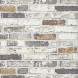 Erismann - Beige Brick Wallpaper - Double Roll - Beige Brick Wallpaper is unpasted and has 12. 59 inches pattern repeat. Collection name: BRIX Size of each double roll is 21 inches x 33 feet. Each double roll covers about 57. 75 square feet / 5. 36 square meters. Made in Europe.
