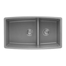Blanco - Blanco Performa Silgranit II 1.75 Medium Double Bowl, Metallic Gray (441309) - Blanco 441309 Performa Silgranit II 1.75 Medium Double Bowl, Metallic Gray