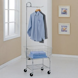 Organize It All 17167 Laundry Center - The Organize It All Laundry Center may not make you look forward to Laundry Day (nothing can do that) but it will definitely make this necessary task easier and a bit more fun. This laundry center's streamlined flawless design combines a laundry basket garment rack and storage shelf into one conveniently portable unit. You can effortlessly glide your laundry center from bedroom or bathroom to laundry room on four sturdy rubber casters eliminating all that undignified lifting so you no longer feel like a pack horse.Heap dirty clothes into the oversized wire basket for the trip to the laundry room and return with folded clean clothes never having strained your back by hoisting a laundry basket on your hip. A handy strong garment rack is attached to the top of the cart so you can hang clothes to dry or keep ironed clothes neatly pressed. The bottom storage shelf is the perfect height for your detergent bleach and other supplies. With its ultra-tough steel construction and hefty 100-lb. weight capacity this cart will help you tame the laundry of a large family or a small business.