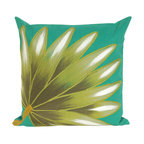 """Trans-Ocean Inc - Palm Fan Teal 20"""" Square Indoor Outdoor Pillow - The highly detailed painterly effect is achieved by Liora Mannes patented Lamontage process which combines hand crafted art with cutting edge technology. These pillows are made with 100% polyester microfiber for an extra soft hand, and a 100% Polyester Insert. Liora Manne's pillows are suitable for Indoors or Outdoors, are antimicrobial, have a removable cover with a zipper closure for easy-care, and are handwashable.; Material: 100% Polyester; Primary Color: Turquoise;  Secondary Colors: olive, sage, white; Pattern: Palm Fan; Dimensions: 20 inches length x 20 inches width; Construction: Hand Made; Care Instructions: Hand wash with mild detergent. Air dry flat. Do not use a hard bristle brush."""