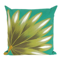 "Trans-Ocean Inc - Palm Fan Teal 20"" Square Indoor Outdoor Pillow - The highly detailed painterly effect is achieved by Liora Mannes patented Lamontage process which combines hand crafted art with cutting edge technology. These pillows are made with 100% polyester microfiber for an extra soft hand, and a 100% Polyester Insert. Liora Manne's pillows are suitable for Indoors or Outdoors, are antimicrobial, have a removable cover with a zipper closure for easy-care, and are handwashable.; Material: 100% Polyester; Primary Color: Turquoise;  Secondary Colors: olive, sage, white; Pattern: Palm Fan; Dimensions: 20 inches length x 20 inches width; Construction: Hand Made; Care Instructions: Hand wash with mild detergent. Air dry flat. Do not use a hard bristle brush."