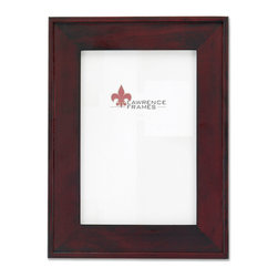 Lawrence Frames - Dark Walnut Flat Wood 4x6 Picture Frame - Gorgeous walnut wood picture frame with outer edge detail.  High quality black wood backing with an easel for vertical or horizontal table top display, and hangers for vertical or horizontal wall mounting.    Hand finished wood picture frame is made with exceptional workmanship and comes individually boxed.