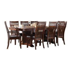 Standard Furniture - Standard Furniture Artisan Loft 9 Piece Dining Room Set in Aged Bronze - The rustic, yet refined character of Arts & Crafts styling is portrayed in the authentic craftsman elements found in Artisan Loft Dining.