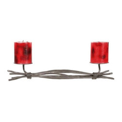 Stone County Ironworks - Rush Renaissance Double Candleholder (Gunmetal) - Finish: Gunmetal. Candles not included. Horizontal design. 5 in. candle base plate. Organic textures and hand-forged waves with random lengths held together with loose hot wraps. Copper or gold accent highlights the wraps. Applicable for contemporary, rustic or casual settings. Perfect decor piece for mantles, tables or shelves. Made from iron. 27 in. W x 6 in. D x 5 in. H (6 lbs.)As always, anything from the Rush collection is captivating and this candleholder is no exception. Stone County Ironworks creates heirloom, hand-forged iron furniture. Blacksmiths use artistic ability and traditional tools like the hammer, anvil, and forge to create unique works of art, naturally.