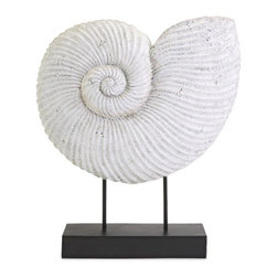 IMAX CORPORATION - Ramsey Sea Shell On Stand - Bring the serene aesthetic of seaside charm into you room with the Ramsey Sea Shell on stand. Perfect for nautical or coastal themed decor, this classic accent also works in any office or library. Find home furnishings, decor, and accessories from Posh Urban Furnishings. Beautiful, stylish furniture and decor that will brighten your home instantly. Shop modern, traditional, vintage, and world designs.