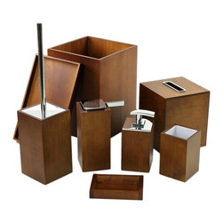 Complete Bathroom Accessory Set By Gedy - This 8-piece bathroom accessory set includes all your bathroom needs. Set includes 2 different soap dispensers, toothbrush holder, tray, toilet brush, soap dish, waste bin, and a boutique tissue box cover. Set is made of wedge finished wood.