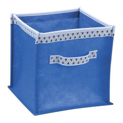 "Household Essentials - Twist Bins With Decorative Trim - Royal-Blue/Triangles - These fashionable bins twist and collapse down for easy storage or twist and pop up for easy use.  Their bright colors fashionable trim and dual handles make these lightweight bins quick easy and fun to use.  Get several in one color or mix and match your prints and create your own color fusion. Our Twist Bin storage bins are lightweight but durable.  Made of non-woven polypropylene these bins are soft to the touch clean easily with a damp cloth and are easy on the eye.  Use twist bins at home in the office in the dorm or in the car!  They pop up and twist down wherever you are. 2 Pack Dimensions: 10""H x 10""W x 10""D"