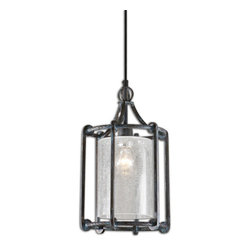 Uttermost - Generosa 1-Light Crackle Glass Lantern - Refreshing turquoise washed rust black finish on a sturdy forged metal lantern shaped pendant. Clear crackle glass shade diffuses the light for an inviting look. 60 watt antique style tubular bulb included.