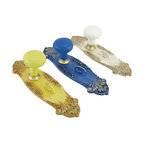 Zeckos - Set of 3 Vintage Door Knob Wall Pegs Hooks Yellow, Blue, White - This trio of wall pegs adds a fun accent to any wall, and complements shabby chic decor. They are fashioned to look like antique door knobs, and each one measures 9 1/4 inches tall, 2 3/4 inches wide, 2 1/2 inches deep. Each piece is made of cold cast resin and has a hand painted, distressed finish. They each mount to the wall with a single nail or screw, and are perfect for hanging up coats, hats, purses, reusable grocery bags, and dog leashes.