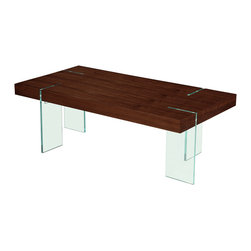 """Diamond Sofa - Glass Leg 47"""" Cocktail Table with Java Veneer Top - Bring chic styling to your living room with this cocktail table. It offers the block table top design accentuated with the modern look of the clear, tempered glass legs."""