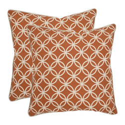 Safavieh - Safavieh Alice 18-inch Brown Feather Decorative Pillows (Set of 2) - A charming linked flower motif adapted from a vintage American quilt inspired the Alice accent pillow.
