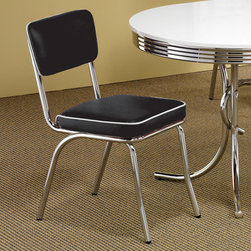 Coaster - Chrome Plated Retro Dining Chair in Black, Set of 2 - The Retro Collection offers fun retro dining options that are colorful, contemporary, and just right for everyday use. The chairs and stools have an easy care faux leather finish while the tables have a shiny easy care dining surface.