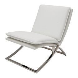 Nuevo Living - Neo Lounge Chair in Grey by Nuevo - HGTB198 - The Neo Lounge Chair in Grey features a naugahyde (vinyl) upholstered seat with CFS foam and a high polish stainless steel base