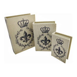 Zeckos - Set of 3 Crown and Fleur de Lis Burlap Covered Book Stash Boxes - This set of 3 books is actually a set of secret stash boxes that allows you to store private things out in the open. The wooden boxes have burlap coverings that feature a fleur de lis in the middle of a wreath, topped by a royal crown. The largest box measures 13 inches tall, 9 1/2 inches wide, 3 1/2 inches thick, the middle box is 10 1/2 inches tall, 7 1/2 inches wide, 2 3/4 inches thick, and the smallest measures 8 1/4 inches tall, 5 1/2 inches wide, 2 inches thick. They are great for stashing small valuables, and fit right in with the rest of your books on a shelf or bookcase, or stacked on an end table. This set is also a great gift for a friend.