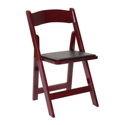 PRE Sales - Wooden Folding Chair w Vinyl Cushions - Set o - Set of 4. Interchangeable. Interstackable. Lightweight. Elegant curved back for utmost comfort. Suitable for all occasions. Polyurethane coating. Soft removable vinyl cushions. 3 years Limited warranty. Made from high quality solid oak hardwood. No Assembly Required. 17 in. W x 17 in. D x 31 in. H (12 lbs.)