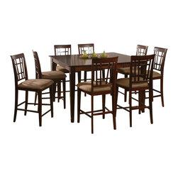 Atlantic Furniture - Atlantic Furniture Montego Bay 9 Piece Pub Height Dining Set-Caramel Latte - Atlantic Furniture - Dining Sets - AD81623407