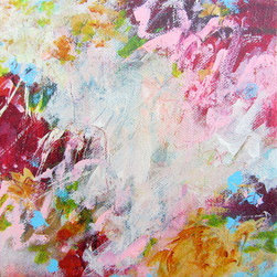 A Dance In The Garden (Original) by Paulette Insall - Abstract acrylic and mixed media painting by Paulette Insall