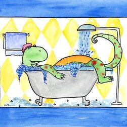 Oh How Cute Kids by Serena Bowman - Dino in Tub, Ready To Hang Canvas Kid's Wall Decor, 16 X 20 - Because even Dinosaurs need gentle reminders.  I love of the Dino tippy toes to reach the sink,  This is part of the my Bathroom Dinos Series. I created this in hopes it would serve has reminders to my kids.  Make the bathroom a fun place and maybe just maybe the kiddies will actually go wash there hands and brush their teeth??  Here's to hoping!