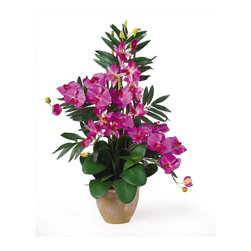 Double Phal/Dendrobium Silk Flower Arrangement - If you're looking for an exquisite one of a kind piece then stop right here. This silk orchid arrangement is an exciting mixture of two classic phalaenopsis orchid stems that intertwine with two dendrobium stems. You also notice shoots of bamboo and gorgeous green leaves that help to complete the warm tropical feel of this unbelievable piece. Standing 29 in tall and set in a timeless ceramic pot this silk orchid arrangement is sure to charm the masses. Height: 29 in, Vase: 7 in W x 5.5 in H Height= 29 in x Width= 24 in x Depth= 16 in