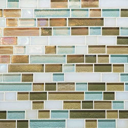 Caribbean Blend Random Linear Mosaic Tile - With color names like waves, sea glass, sky blue, lagoon, driftwood, reed and moonlight, this mosaic glass tile would make a stunning coastal kitchen backsplash.