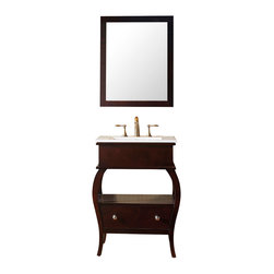 "Virtu USA - Hilary 26"" Single Bathroom Vanity Cabinet Set in Espresso, Houzz Exclusive - The Hilary bathroom vanity is elegantly designed for small bath or powder room. This vanity comes with a beautiful ceramic countertop with an integrated basin for an easy clean. This vanity is equipped with one soft closing drawer and an open air storage shelf. The cabinet frame is made from solid oak wood . A large cutout in the back allows for easy plumbing installation."