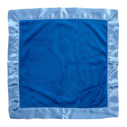 Simplicity Blue - Binky Blanket - Binky Blanket is designed in darker blue minky fabric and trimmed in our lighter blue satin.