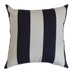 """The Pillow Collection - Leesburg Stripes Pillow Blue White 20"""" x 20"""" - The bold and fresh colors of this square pillow bring a rejuvenating twist to your interiors. This accent pillow lends extra comfort and style to your furniture. Mix up this decor pillow with other patterns like geometric, plaid and floral for a unique look. This 20"""" pillow coordinates easily with various decor styles and settings. Made from 100% plush and durable cotton fabric. Hidden zipper closure for easy cover removal.  Knife edge finish on all four sides.  Reversible pillow with the same fabric on the back side.  Spot cleaning suggested."""