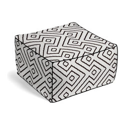 Black and White Optical Diamond Custom Pouf - The Square Pouf is the hottest thing in decor since the sectional sofa. This bean bag meets Moroccan style ottoman does triple duty as a comfy extra seat, fashion-forward footstool, or part-time occasional table.  We love it in this super chic black & white diamond print on pure linen. a bold, graphic statement in your modern home.
