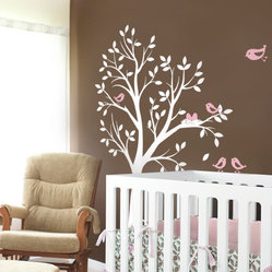 Tree with Birds and Nest Wall Decal