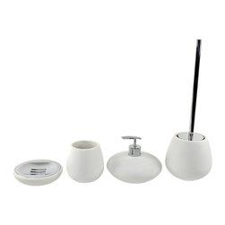 Gedy - Round 4 Piece White Bathroom Accessory Set - Exquisite bathroom accessory set perfect for modern & contemporary designed bathrooms.