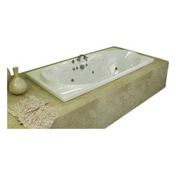 Spa World Corp - Atlantis Tubs 4272WWR Whisper 42x72x23 Inch Rectangular Whirlpool Jetted Bathtub - The interior of the whisper is sensual and curvaceous, while maintaining a rectangular outline. The center drain allows you to lie back comfortably on either end of the tub, while the smooth curves of the whisper series create a seat like effect for ultimate relaxation and comfort.