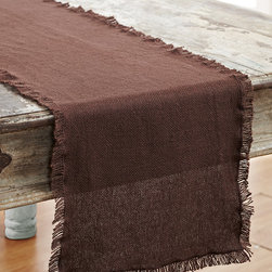 VHC Brands - Chocolate Fringed Burlap Runner - Woven like burlap, this all-cotton topper adds a protective, rustic flare to your table.   72'' W x 13'' H 100 % cotton Machine wash Imported