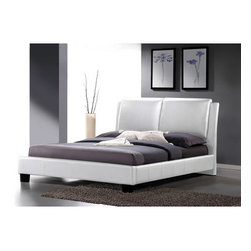 "Wholesale Interiors - Baxton Studio Sabrina Platform Bed - Leave the comfort of your bed to the mattress, pillows, and bedding but what to do about the style? Well, that is where the bed frame comes in! The luxurious overstuffed queen headboard and sleek minimalist style of our Sabrina Modern Platform Bed will fit the bill with oodles of style. Features: -Baxton Studio collection. -Engineered wood frame. -Polyurethane foam padding. -Wiped clean with a damp cloth. Specifications: -Queen side rail: 11.75"" H x 81.5"" W x 1.5"" D. -Queen headboard: 42"" H x 64"" W x 7"" D. -Queen height of legs: 5"". -Queen height to top of slat: 8.125"". -Queen footboard: 12.5"" H x 64"" W x 3.5"" D. -Queen internal: 61"" W x 81.50"" D. -King internal: 78"" W x 81.50"" D. -Queen dimension: 45"" H x 70"" W x 96"" D. -King dimension: 45"" H x 87"" W x 96"" D."