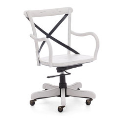 Zuo Modern - Union Square Office Chair Antique White - Modeled after the most popular cafe chair in Europe, our versatile X-back office chair comes in natural, antique black, and antique white. Frame is solid wood with antique metal accents.