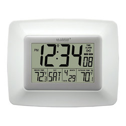 La Crosse Technology - La Crosse Technology WS-8119U-IT-W Atomic Digital Clock with Temperature - Never be late for an appointment with this modern digital atomic clock. This clock is solar powered and has a backup battery, ensuring you can always check the time and temperature.