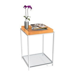 Convenience Concepts Palm Beach Square Bamboo Metal and Glass End Table with Rem - The Convenience Concepts Palm Beach Square Bamboo Metal and Glass End Table with Removable Tray comes complete with a bamboo tray to serve guests in style. This table is made strong with its chrome-plated steel frame. It offers ample storage with its pair of tempered-glass shelves.About Convenience ConceptsIf you're looking for forward-thinking designs at affordable prices, you can count on Convenience Concepts. Sensible contemporary furniture that's easy and ready to assemble, all of the products created by Convenience Concepts are quality-driven and will add flair to your living spaces.
