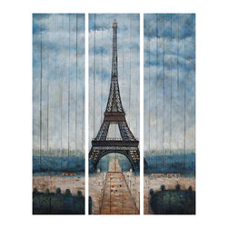 Bassett Mirror Company - Bassett Mirror Company Eiffel Tower Hand-Painted Canvas - Eiffel Tower Hand-Painted Canvas by Bassett Mirror Company Hand-Painted Canvas (1)