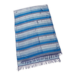 """Moroccan Buzz - Ocean Blue & Grey Table Runner / Scarf - """"Brighten your dining (or any!) room with a versatile, colorful Moroccan table runner. Our luxurious hand-loomed table runners are so beautiful, they've been know to serve as personal accessories - elegant wraps and scarves - too."""""""