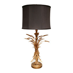 Elegant Gilt Wood and Tole Wheat Sheaf Lamp - An Italian wheat sheaf table lamp adds a well-dressed touch wherever you put it.