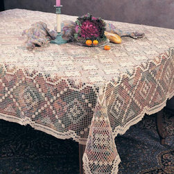 None - Tuscany Square LaceTopper 54 inches x 54 inches - This wonderful tablecloth has an elegant,rich-looking design to coordinate with your decor. This lovely tablecloth features a lacy design.
