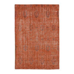 "Kaleen - Kaleen Restoration Collection RES01-31 8' x 10' Pumpkin - The Restoration collection puts the finishing touches on a classic reproduction for some of the most unique rugs in the world. Hand-knotted in India of 100% wool, each rug is intentionally distressed by hand-shearing for authenticity, over-dyed colors for beautiful style, and complete with the smallest little details for the perfect replica of a vintage antique rug.  A 100% natural ""green"" product and completely free of any latex materials."