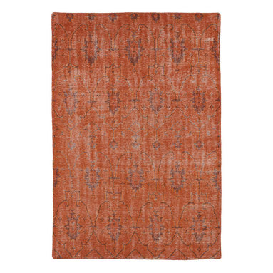 """Kaleen - Kaleen Restoration Collection RES01-31 8' x 10' Pumpkin - The Restoration collection puts the finishing touches on a classic reproduction for some of the most unique rugs in the world. Hand-knotted in India of 100% wool, each rug is intentionally distressed by hand-shearing for authenticity, over-dyed colors for beautiful style, and complete with the smallest little details for the perfect replica of a vintage antique rug.  A 100% natural """"green"""" product and completely free of any latex materials."""