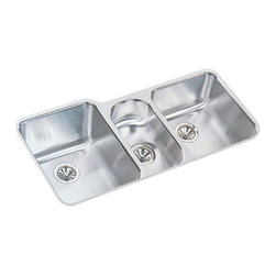 "Elkay - Elkay ELUH4020  Harmony Undermount Sink - Elkay's ELUH4020 is a Harmony Undermount Sink. This triple-bowl sink is constructed of 18-gauge type 304 nickel bearing stainless steel, and can be mounted under almost any surface. It features a 7-7/8"" right bowl depth, a 5"" center bowl depth, a 9-7/8"" left bowl depth, and three 3-1/2"" drain openings."