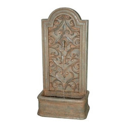 Bond Manufacturing - Capistrano Fountain - The enduring look of an Old World water spigot, the Cailin fountain has a large water basin that creates robust sound. Decorative designs enhance the beauty of this flat backed water fountain perfect for patios and decks alike.