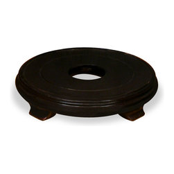"""China Furniture and Arts - 9in Round Wooden Base - This beautiful wood stand, along with your favorite flowerpot or vase, will create an instant centerpiece in any room. Hand rubbed dark brown finish. Useable surface is 9"""" diameter. Imported."""